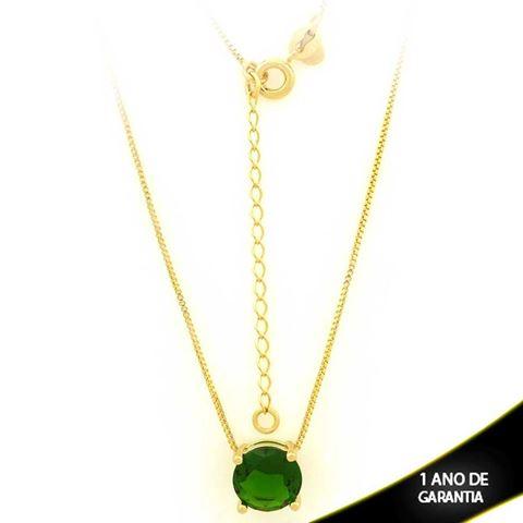 Imagem de Corrente Feminina Com Pedra Natural Redonda Verde Escuro 40cm Mais 5cm De Extensor - 0403134