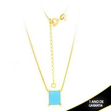 Imagem de Corrente Feminina Com Pedra Natural Retangular Azul Claro 40cm Mais 5cm De Extensor - 0403136