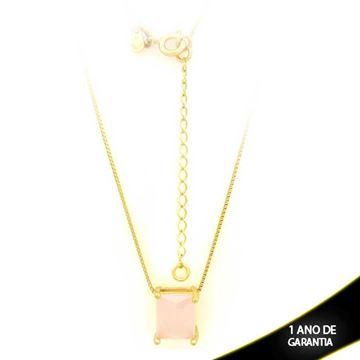 Imagem de Corrente Feminina Com Pedra Natural Retangular Rosa 40cm Mais 5cm De Extensor - 0403136