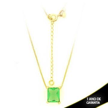 Imagem de Corrente Feminina Com Pedra Natural Retangular Verde Claro 40cm Mais 5cm De Extensor - 0403136