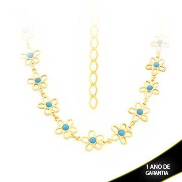 Imagem de Corrente Feminina Choker Flores Com Pedra Azul 28cm Mais 17cm De Extensor - 0403473