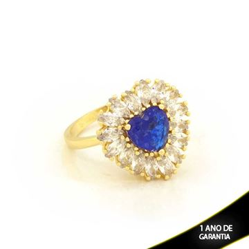 Imagem de Anel Coração com Pedras de Zircônias Azul Escuro - 0104722