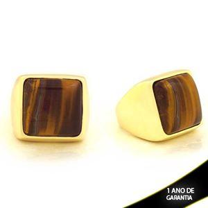 Imagem de Anel com Pedra Natural Quadrada Olho de Tigre - 0103609