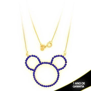 Imagem de Corrente Feminina Mickey Com Strass Azul 50cm - 0402920