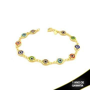 Imagem de Pulseira Feminina Olho Grego Colorido 18cm - 0502660