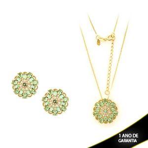 Imagem de Conjunto Flor Com Pedras Verde Claro e Zircônias 45cm Mais 5cm De Extensor - 0700841
