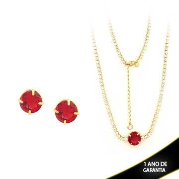 Imagem de Conjunto com Zircônias e Pedra Vermelha 33cm Mais 5cm De Extensor - 0700845