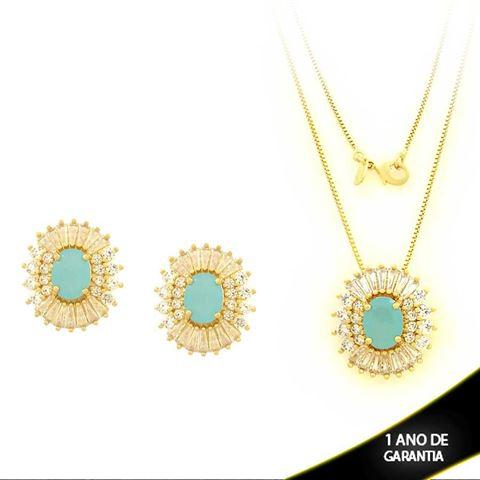 Imagem de Conjunto com Zircônias e Pedra Natural Azul Claro 45cm - 0700864
