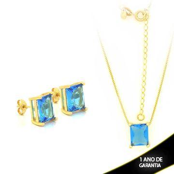 Imagem de Conjunto com Pedra Natural Retangular Azul 40cm Mais 5cm De Extensor - 0700877