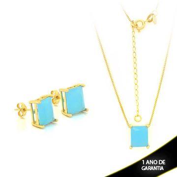 Imagem de Conjunto com Pedra Natural Retangular Azul Claro 40cm Mais 5cm De Extensor - 0700877