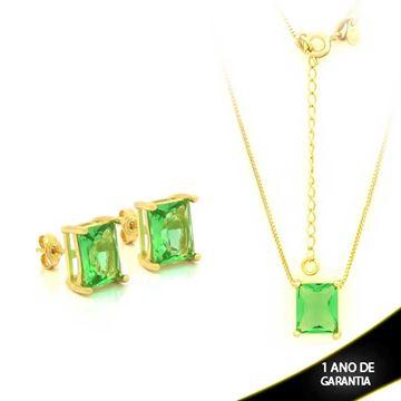 Imagem de Conjunto com Pedra Natural Retangular Verde Claro 40cm Mais 5cm De Extensor - 0700877