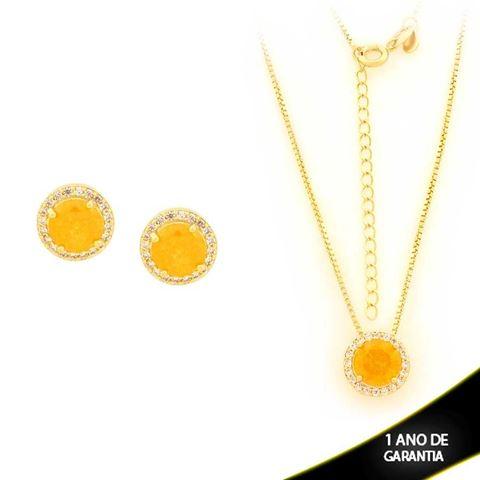 Imagem de Conjunto Redondo com Pedras de Zircônias Amarela 45cm Mais 5cm de Extensor - 0700898