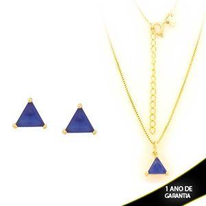 Imagem de Conjunto Triângulo com Pedra de Zircônia Azul Escuro 40cm Mais 5cm de Extensor - 0700900