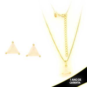 Imagem de Conjunto Triângulo com Pedra de Zircônia Branco Gelo 40cm Mais 5cm de Extensor - 0700900