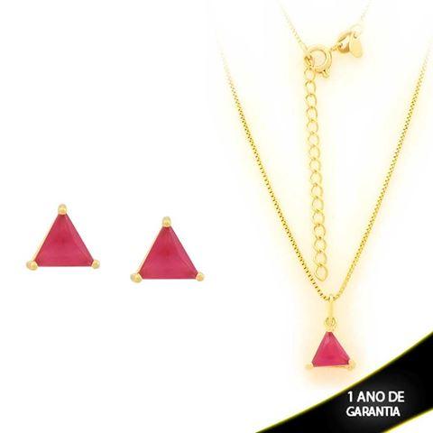 Imagem de Conjunto Triângulo com Pedra de Zircônia Pink 40cm Mais 5cm de Extensor - 0700900