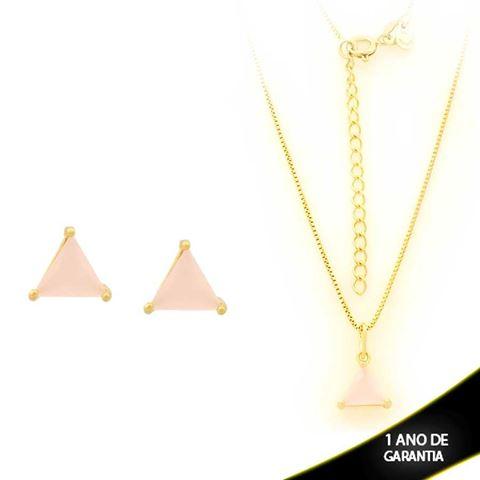 Imagem de Conjunto Triângulo com Pedra de Zircônia Rosa 40cm Mais 5cm de Extensor - 0700900