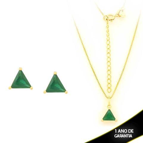 Imagem de Conjunto Triângulo com Pedra de Zircônia Verde Escuro 40cm Mais 5cm de Extensor - 0700900