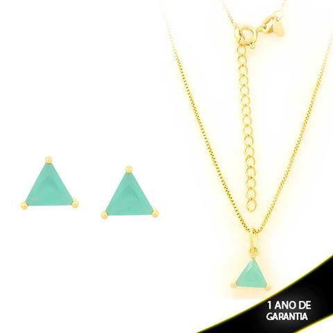 Imagem de Conjunto Triângulo com Pedra de Zircônia Verde Água 40cm Mais 5cm de Extensor - 0700900