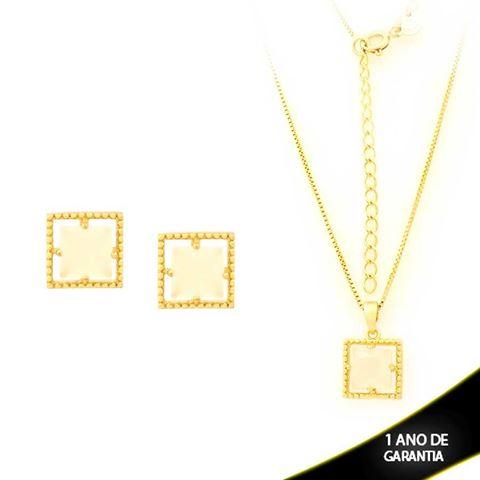 Imagem de Conjunto Quadrado com Pedra de Zircônia Branco Gelo 40cm Mais 5cm de Extensor - 0700901