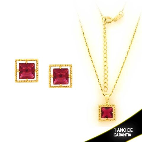 Imagem de Conjunto Quadrado com Pedra de Zircônia Pink 40cm Mais 5cm de Extensor - 0700901