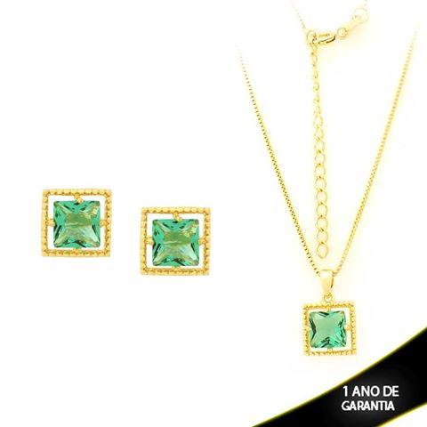 Imagem de Conjunto Quadrado com Pedra de Zircônia Verde Claro 40cm Mais 5cm de Extensor - 0700901