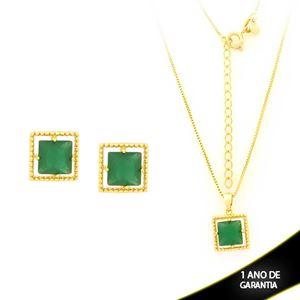 Imagem de Conjunto Quadrado com Pedra de Zircônia Verde Escuro 40cm Mais 5cm de Extensor - 0700901