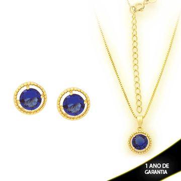 Imagem de Conjunto Redondo com Pedra de Zircônia Azul 40cm Mais 5cm de Extensor - 0700902