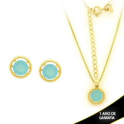 Imagem de Conjunto Redondo com Pedra de Zircônia Azul Claro 40cm Mais 5cm de Extensor - 0700902