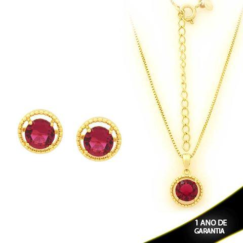 Imagem de Conjunto Redondo com Pedra de Zircônia Pink 40cm Mais 5cm de Extensor - 0700902