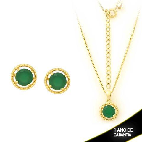 Imagem de Conjunto Redondo com Pedra de Zircônia Verde 40cm Mais 5cm de Extensor - 0700902