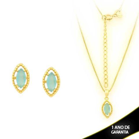 Imagem de Conjunto com Pedra de Zircônia Azul Claro 40cm Mais 5cm de Extensor - 0700903