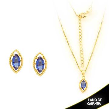 Imagem de Conjunto com Pedra de Zircônia Azul Escuro 40cm Mais 5cm de Extensor - 0700903
