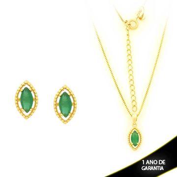 Imagem de Conjunto com Pedra de Zircônia Verde Escuro 40cm Mais 5cm de Extensor - 0700903