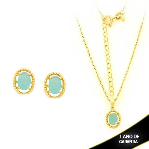 Imagem de Conjunto Oval com Pedra de Zircônia Azul Claro 40cm Mais 5cm de Extensor - 0700905