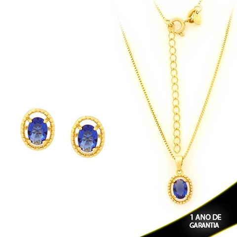 Imagem de Conjunto Oval com Pedra de Zircônia Azul Escuro 40cm Mais 5cm de Extensor - 0700905