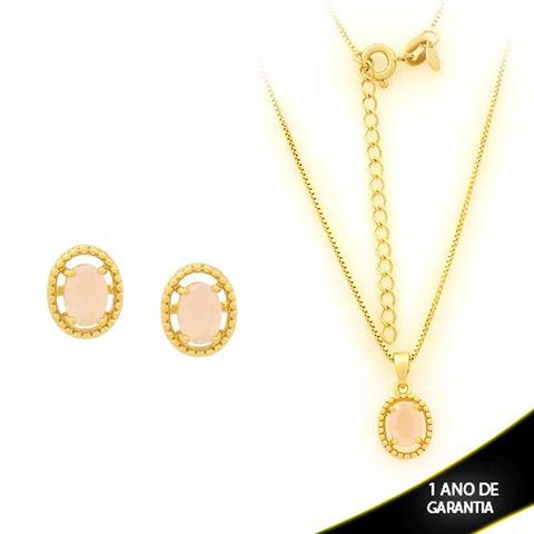 Imagem de Conjunto Oval com Pedra de Zircônia Rosa 40cm Mais 5cm de Extensor - 0700905