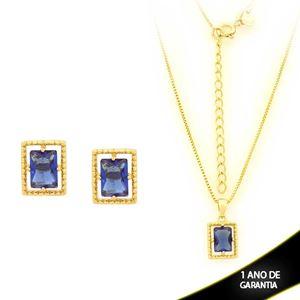 Imagem de Conjunto Retangular com Pedra de Zircônia Azul Escuro 40cm Mais 5cm de Extensor - 0700906