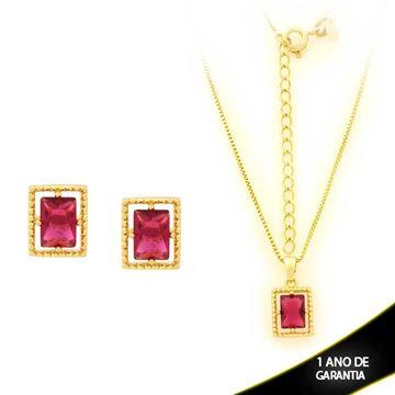 Imagem de Conjunto Retangular com Pedra de Zircônia Pink 40cm Mais 5cm de Extensor - 0700906