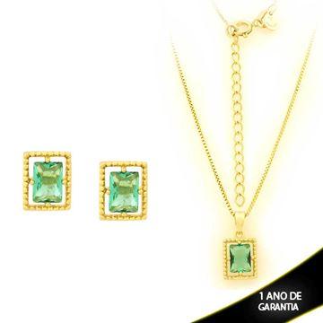 Imagem de Conjunto Retangular com Pedra de Zircônia Verde Claro 40cm Mais 5cm de Extensor - 0700906