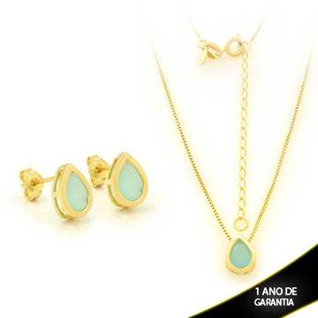 Imagem de Conjunto Gota com Pedra Natural Azul Claro 45cm Mais 5,5cm de Extensor - 0700907