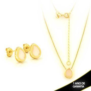 Imagem de Conjunto Gota com Pedra Natural Rosa 45cm Mais 5,5cm de Extensor - 0700907