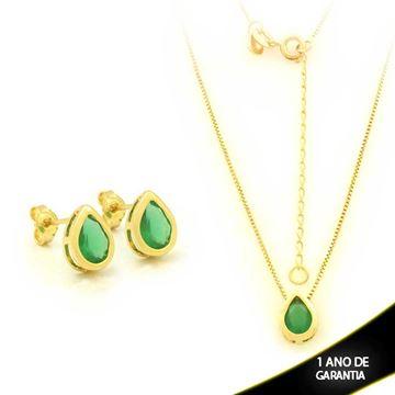 Imagem de Conjunto Gota com Pedra Natural Verde 45cm Mais 5,5cm de Extensor - 0700907