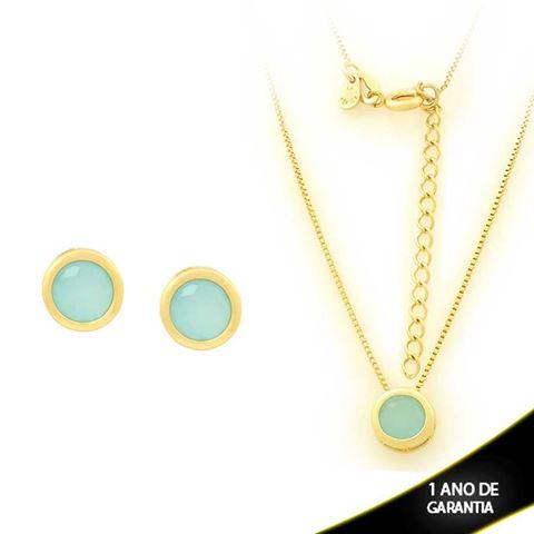 Imagem de Conjunto Redondo com Pedra de Zircônia Azul Claro 40cm Mais 5cm de Extensor - 0700908