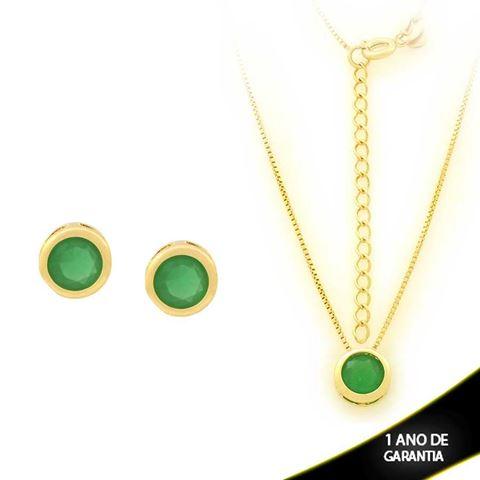 Imagem de Conjunto Redondo com Pedra de Zircônia Verde Escuro 40cm Mais 5cm de Extensor - 0700908