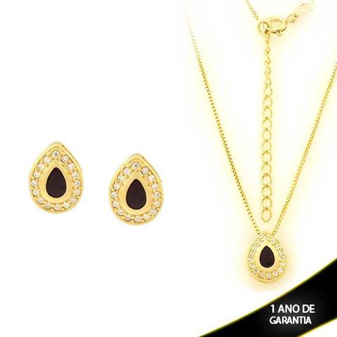 Imagem de Conjunto Gota com Pedras de Zircônias Preta 40cm Mais 5cm de Extensor - 0700911