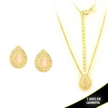 Imagem de Conjunto Gota com Pedras de Zircônias Rosa 40cm Mais 5cm de Extensor - 0700911