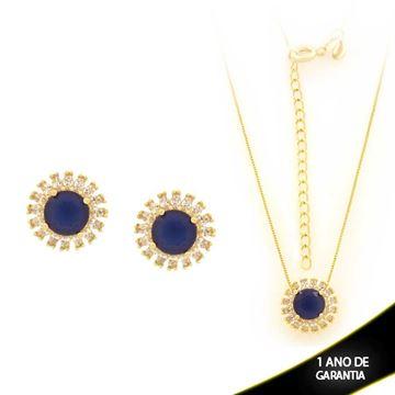 Imagem de Conjunto Redondo com Pedras de Zircônia Azul Bic 45cm Mais 5cm de Extensor - 0700915