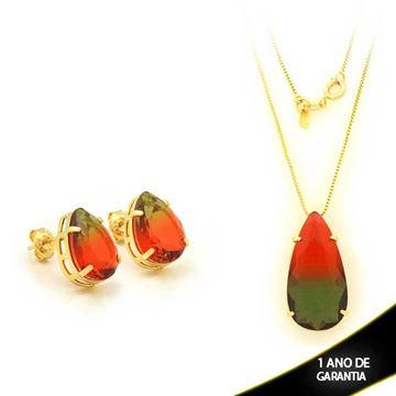 Imagem de Conjunto Gota Com Pedra Rainbow Verde e Vermelho 45cm - 0700925