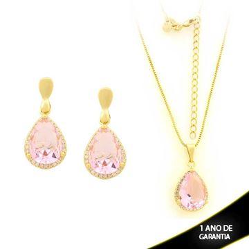 Imagem de Conjunto Gota com Pedras de Zircônia Rosa 45cm - 0700941