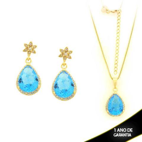 Imagem de Conjunto Gota com Pedras de Zircônia Azul e Branco 45cm - 0700942